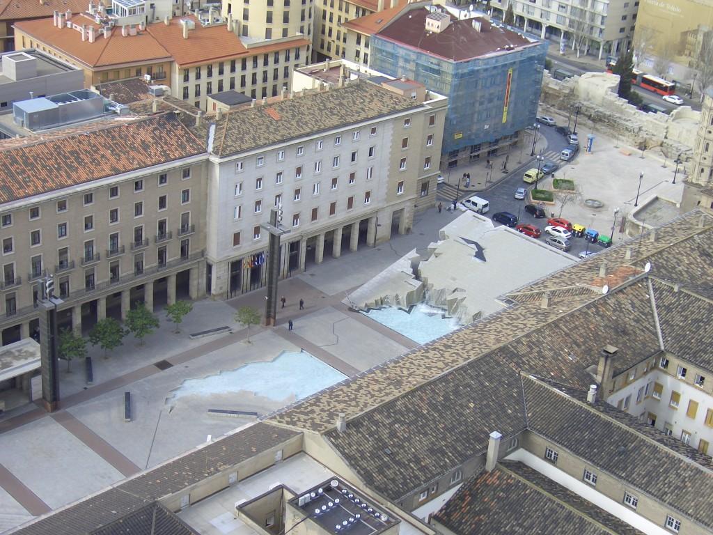 Сарагоса Испания, вид сверху на площадь