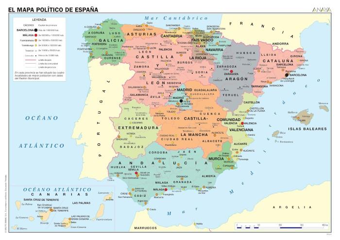 Политическая карта Испании на Испанском