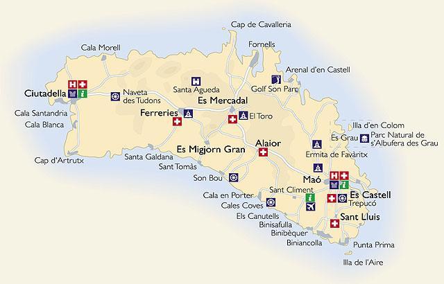 Карта Менорки